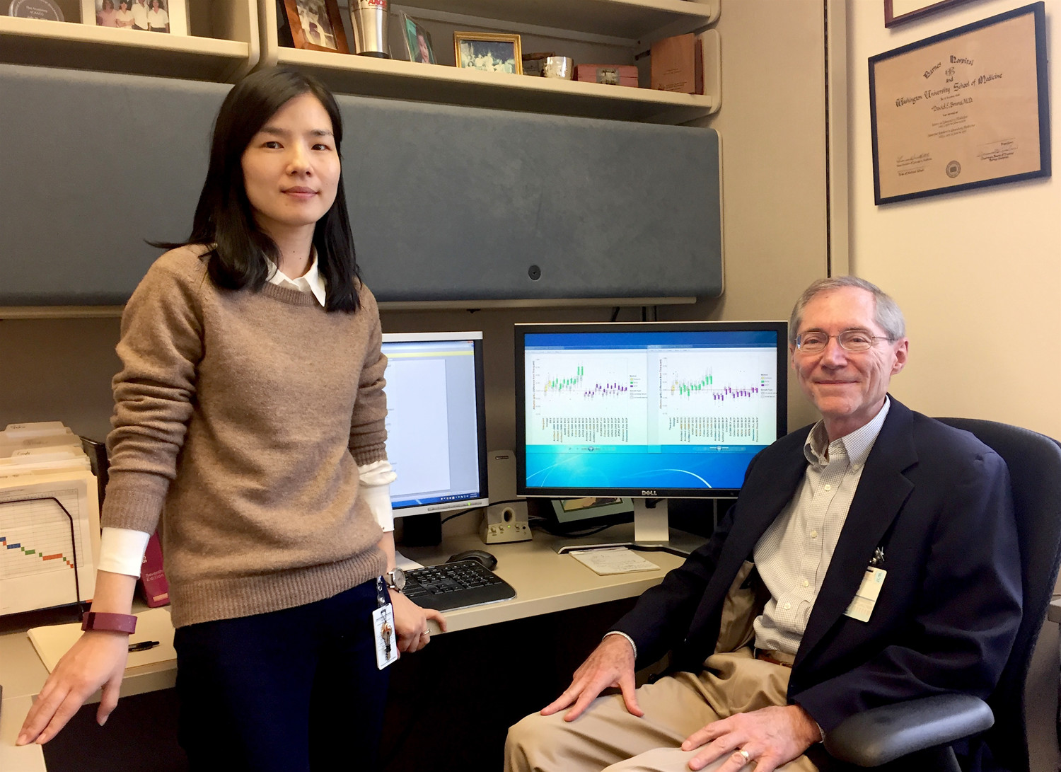 Dr. Min Yu and Dr. David Bruns were two of the UVA researchers who worked on the research with colleagues at Virginia Commonwealth University. (UVA Health System photo)