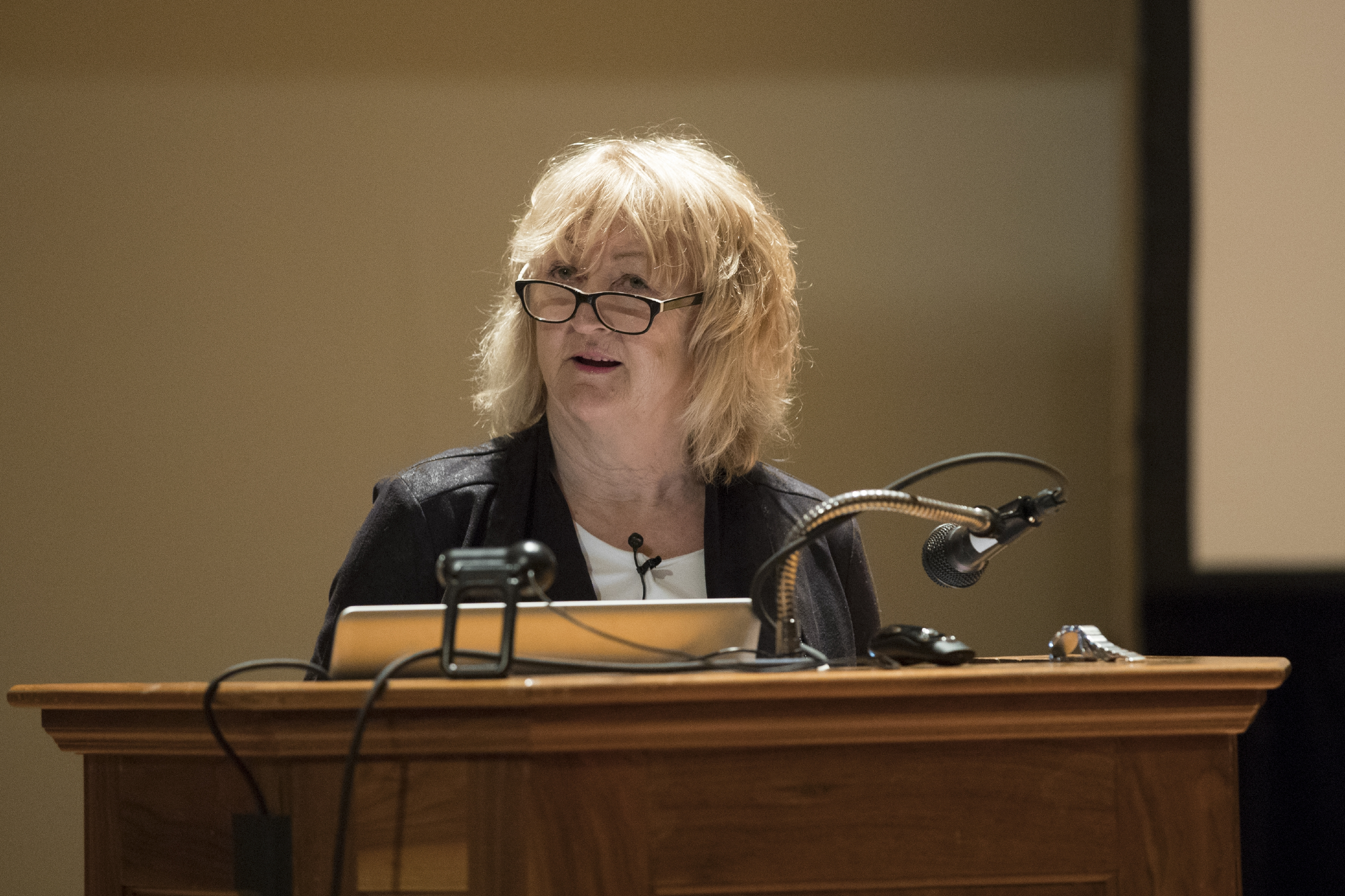 Yvonne Farrell spoke in Old Cabell Hall on Thursday. (Photo by Dan Addison, University Communications)